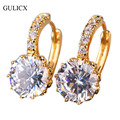 GULICX Engagement Earing for Women 24K Yellow Gold Plated Hoop Earring White Crystal Cubic Zirconia Fashion Wedding Jewelry E006