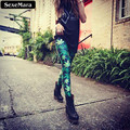 SexeMara Fashion Green Maple Leaf Style Colorful Casual Summer Gothic Leggings Interest Print  Leggings Sexy Pants X-001