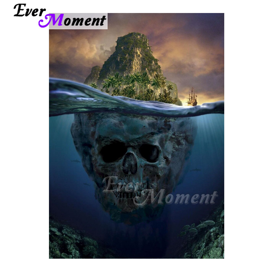 Ever Moment Diamond Painting 5D DIY Mountain Skull Under Sea Decor Picture Of Rhinestone Diamond Embroidery Mosaic ASF1618