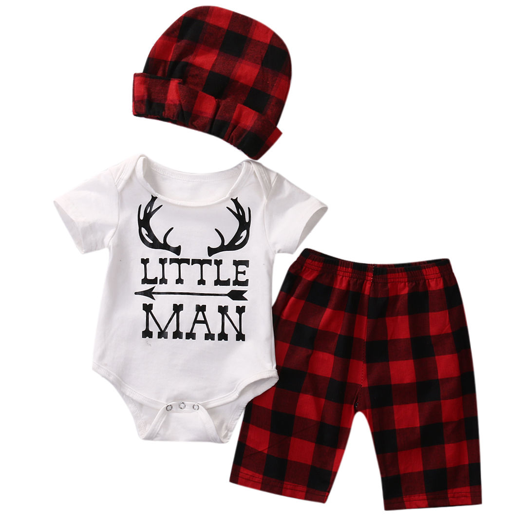 Summer Baby Clothes Set Newborn Baby Girls Boy Deer Print Tops Romper+Plaid Short Pants+Hat 3 pcs Baby Boy Clothes Outfits Set
