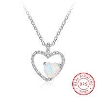 925 Ayar Gümüş Kalp Opal Taş Kolye Çift Kalp Kadınlar Aşk Kolye & Kolye Engament Takı Hediye Onu (NE102002)