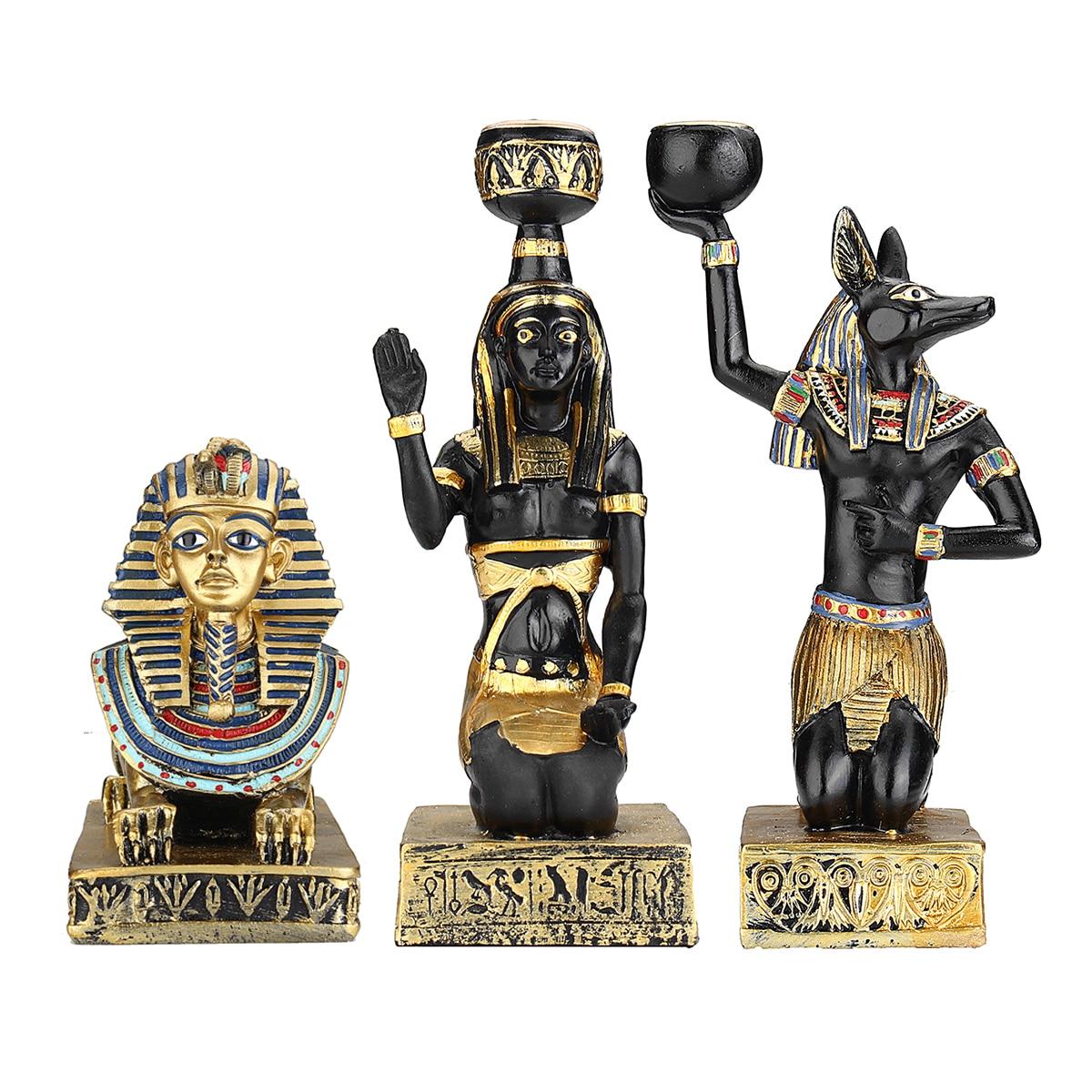Résine Figurines bougeoir rétro antique déesse égyptienne Sphinx Anubis forme chandelier artisanat maison ornements décoratifs