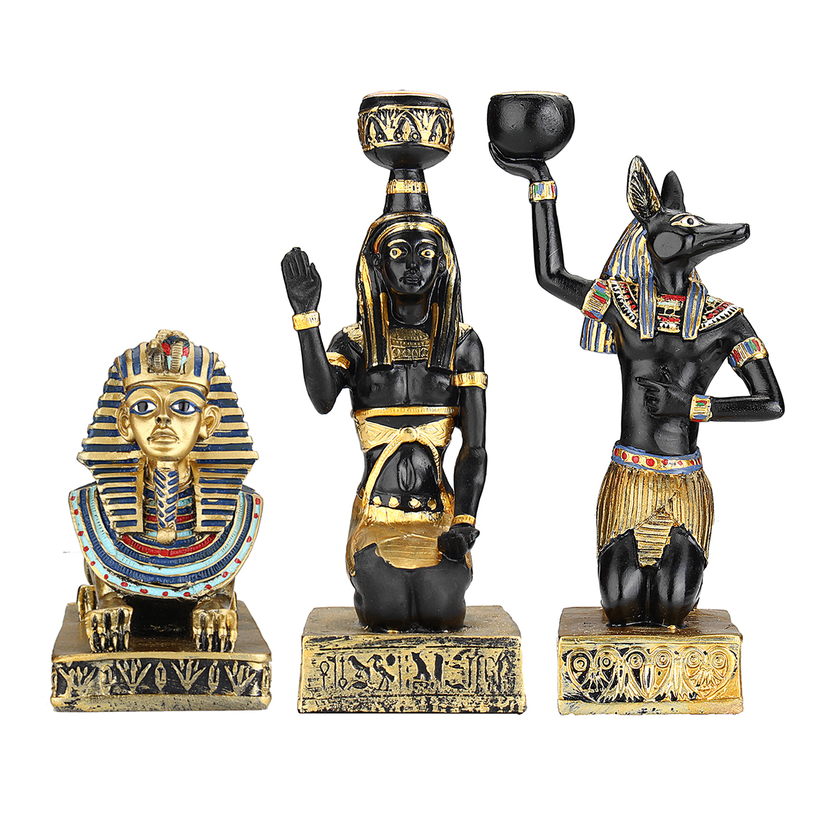 Resin Figurines Candleholder Retro Ancient Egyptian Goddess Sphinx Anubis Shape Candlestick Crafts Home Decorative Ornaments