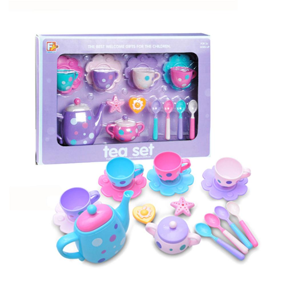 16PCS Fun Children's Kitchen Play House Toy Tea Set Cutlery Set A Variety Of Accessories With Simulation Kitchen Toys