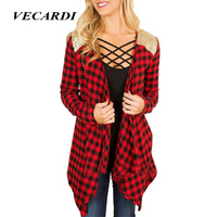 VECARDI Women Plaid Blouse New Autumn Casual Ladies Long Sleeve V Neck Patckwork Cardigan Women Tops