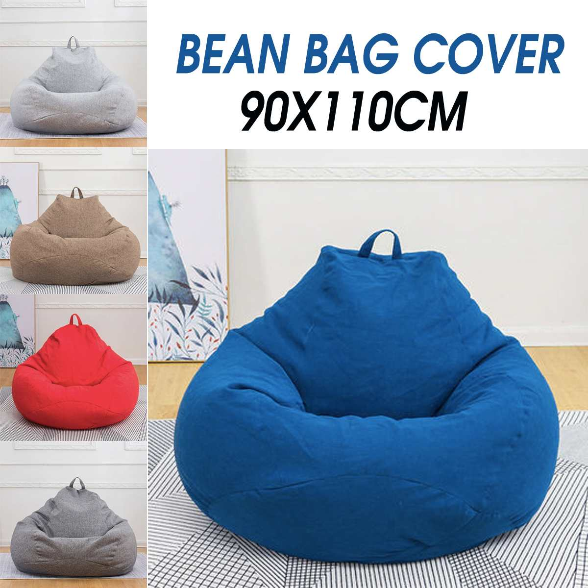 Lazy-Bean-Bag-Cover Seat Ottoman-Seats Couch Lounge Sofas-Game Sitting Adults 90x110cm