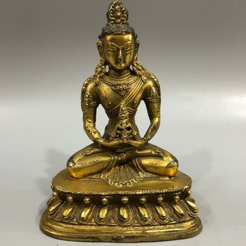 Exquisite Old Collectible Copper Gilding Handwork Bodhisattva Meditation Buddha Statue