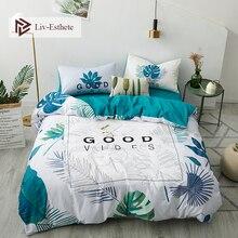 Liv-Esthete Hot Sale Nordic Leaves Plant 100% Cotton Bedding Set Decor Duvet Cover Pillowcase Flat Sheet Queen King Bed