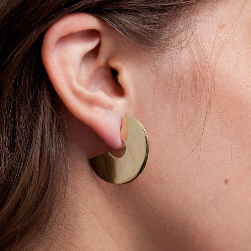 Vintage Design Geometic Semicircle Stud Earrings For Women Round Matte Gold Color Stainless Steel Metal Earrings Punk Jewelry