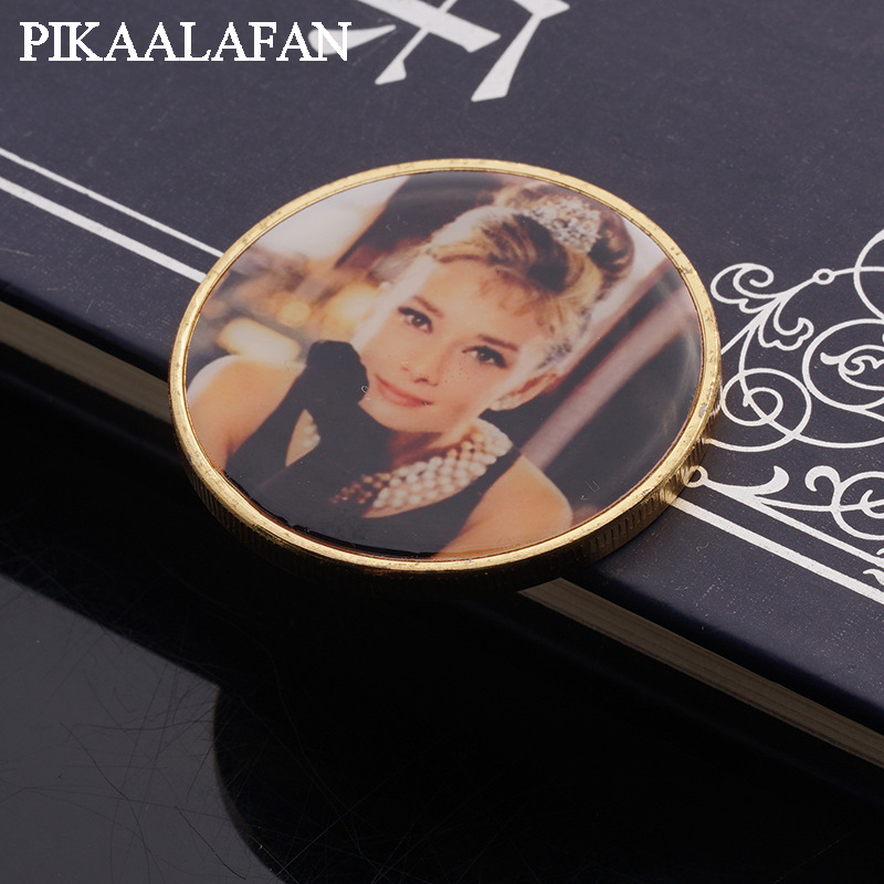PIKAALAFAN stars européennes et américaines Audrey Hepburn plaqué or pièces commémoratives collectant des pièces
