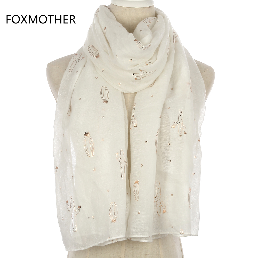 FOXMOTHER 2018 New Fashion White Foil Gold Cactus   Scarf     Wrap   For Womens