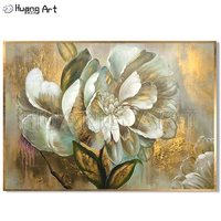 100% Handmade Blooming Flower Oil Painting On Canvas High End Decor Art Wall Painting Home Decoration Gold Flower Art As Gift