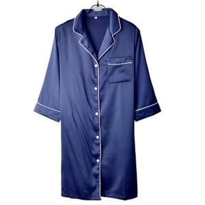 Image 1 - Women Sexy Nightgown Summer Autumn Night Dress Silk Dress Nightie Homewear Casual Blouse Satin Sleepwear Modis Shirt Nightwear