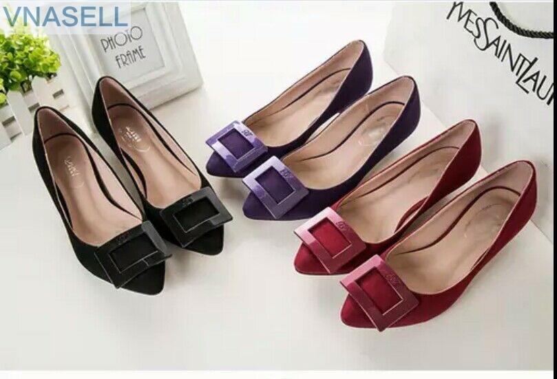 Cucharón Nuevo De Hebilla Zapatos Calabaza 2019 Negro Moda rojo Estilo Zapato púrpura Edición Punto Primavera wIqvFF