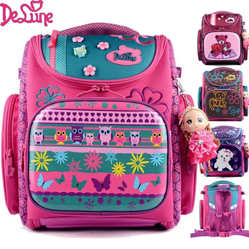 Delune Design Cute Cartoon Bear Dog Girl School Bags Orthopedic Backpack Kids Satchel Children School Portfolio Mochila Infantil