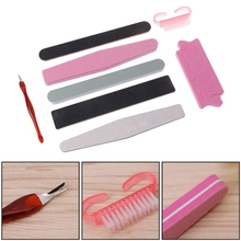 GUJHUI 8Pcs Professional Nail File Toenail Fingernail Buffer Pusher Brush Nail Art Manicure Tools Kit Set