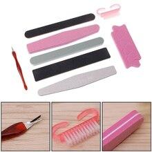 GUJHUI 8Pcs Professional Nail File Toenail Fingernail Buffer Pusher Brush Nail Art Manicure Tools Kit Set