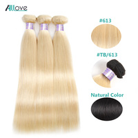 Allove Blonde Straight Hair Bundles Ombre Brazilian Hair Weave Bundles 613 Human Hair Weave 1/3/4 Remy Hair Bundles Extensions
