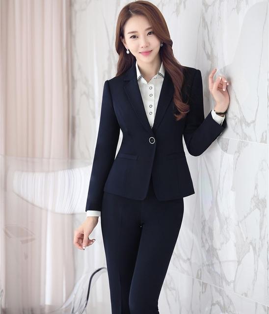 Estilos Business Professional Women Trabalho Desgaste OL formais Ternos Com Conjuntos de Jaquetas E Calças Outono Inverno Calças Femininas Plus Size