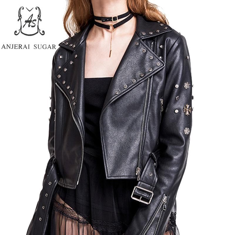 PU   Leather   jacket Women coat Faux   Leather   Spring 2019 sexy black rivet motorcycle female short cazadoras de cuero abrigos mujer