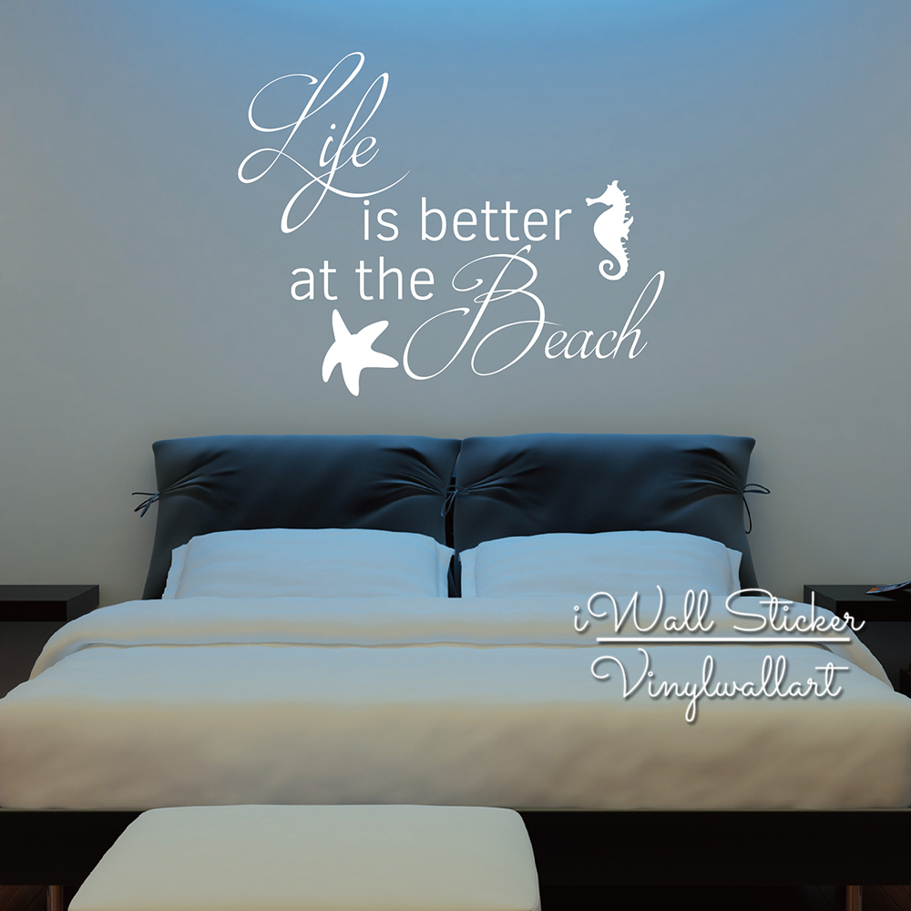 Life Is Better At The Beach Quotes Wall Decal Beach Quote Wall Sticker Bedroom Wall Decor Holiday Beach Decal Cut Vinyl Q257 Life Is Beach Decalquote Wall Decal Aliexpress