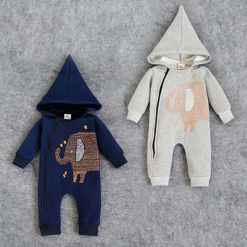 Blue Baby Romper Animal Elephant Baby Boy Romper With Hooded Winter Baby Girl Clothes Set Newborn Jumpsuit Toddler Outfits puseky 2017 infant romper baby boys girls jumpsuit newborn bebe clothing hooded toddler baby clothes cute panda romper costumes