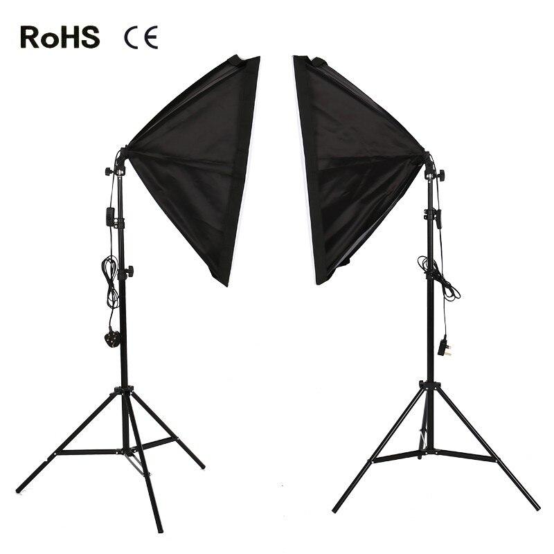 Photography Studio Set:2xPhotography Softbox Light Lighting Kit Photo Equipment Soft Studio Light Softbox With Stand