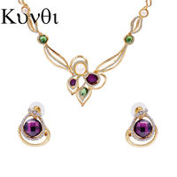 Women Elegant Crystal Jewelry Set Imitation Pearls Zircon Necklace Earrrings Set Gold Turkish Jewelry Parure Bijoux