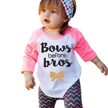 2017 Spring Infant Toddler Kids Baby Boys Girls Letter Print Cotton Pullover T-shirt Long Sleeve Tops Casual Clothes For 2-6 Y