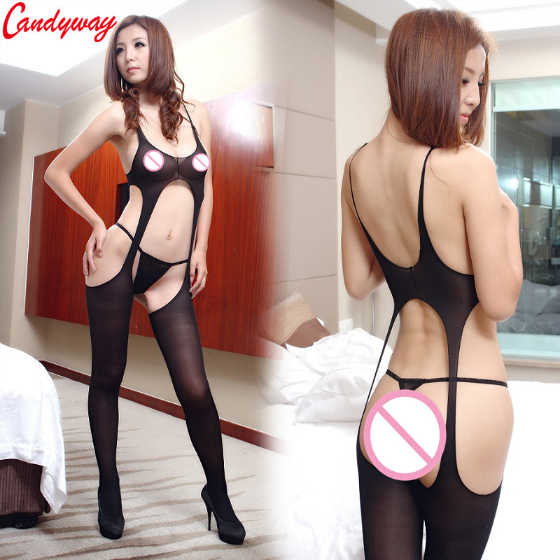 sleeveless sweater Sexy lingerie Tights ultra elastic Silk Pouch Sheath Underwear for women bodysuit sexy BA045 image