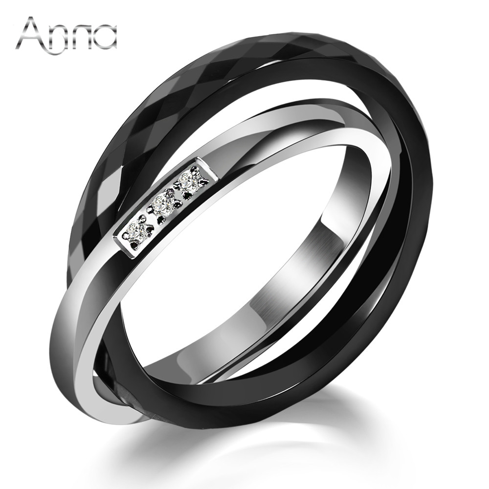 A&N Ceramic Rings Black&Silver Zircon Cross Ring Anniversary Present Unique Design Fashion Stainless Steel Silver Ring For Women