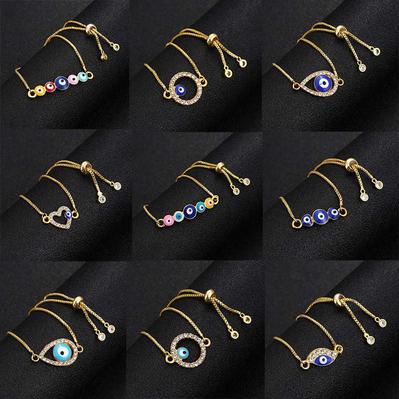 Klasik moda türk altın nazar bilezik açacağı mavi göz altın zincir bilezik ayarlanabilir kadın parti takı