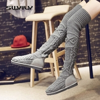 SWYIVY High Boots Winter 10 Snow Boot Thigh High Boots For Women Knitted Female Over The