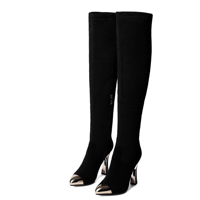 Chaussures Sur Noir Chevalier Bottes Femme Chaud Long Haute Femmes Hauts Marque Pour 1 Serré Métal Hiver Fedonas En Le Orteil Hautes Talons Automne Cxfwp
