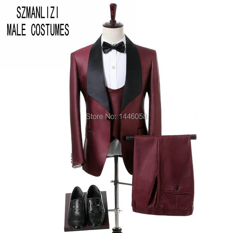 Ucuz 2018 Custom Made Tasarim Slim Fit Erkekler Dugun Takimlari