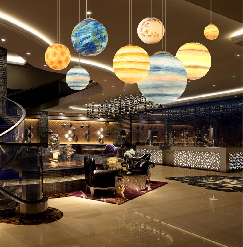 Nordic Creative Universe Planet Acrylic Pendant Light Moon Sun Earth Mars Uranus Mercury Jupiter Saturn Planet LampsNordic Creative Universe Planet Acrylic Pendant Light Moon Sun Earth Mars Uranus Mercury Jupiter Saturn Planet Lamps