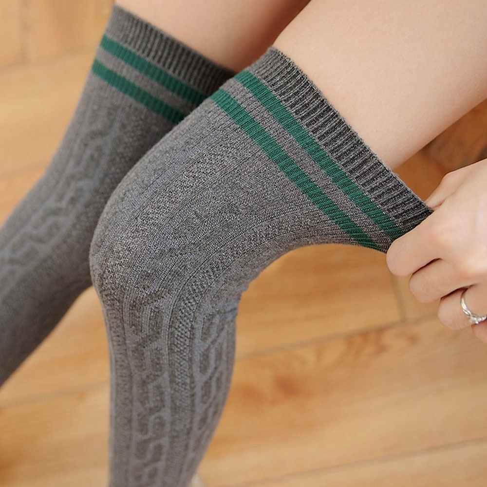 LITTHING 2018 длинные чулки женские хлопковые теплые бедра высокие Новые Модные Полосатые гольфы сексуальные чулки выше колена для женщин