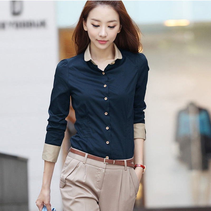 Femme Womens Tops Fashion 2019 Autumn Plus Size Casual Shirt Women Slim Long Sleeve Blouse Woman Clothes Korean Women Clothing
