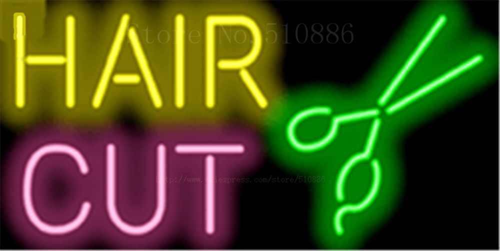 """Hair Cut Salon GlassTube leuchtreklame Handcrafted zeichen Licht Display Club Pub Shop store Geschäfts signage Schild 17 """"x 14"""""""