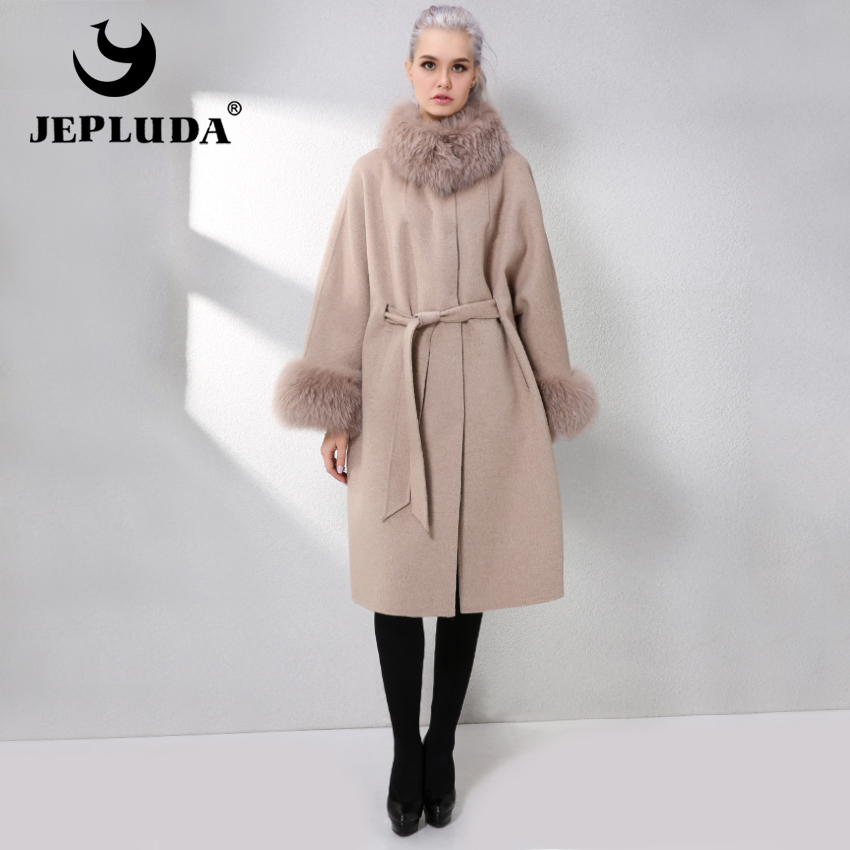 JEPLUDA New Winter Autumn Cashmere Coat Women Sleeve Collar With Natural Real Fox Fur Genuine Leather Jacket Women Real Fur Coat