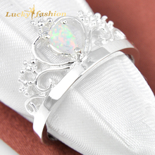 2Pcs 1 Lot  Drop Crystal Fire White Opal 925 Sterling Silver  Wedding Jewelry  Crown Rings Russia Rings Australia Rings