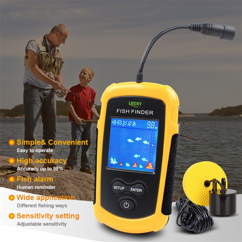 Glück Fisch Finder Verdrahtete Tragbare LCD Tiefe 100M Echolot Alarm Angeln Finder Sonar Sensor Transducer Handheld RL49-0064