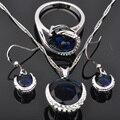 Clásico Azul Cubic Zirconia Mujeres Sistemas de La Joyería de Plata Colgante de Collar Pendientes Anillos Envío Libre JS0138