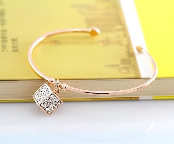 Euramerican  style OL white-collar Half opening love rubik's cube crystal bracelets free shipping