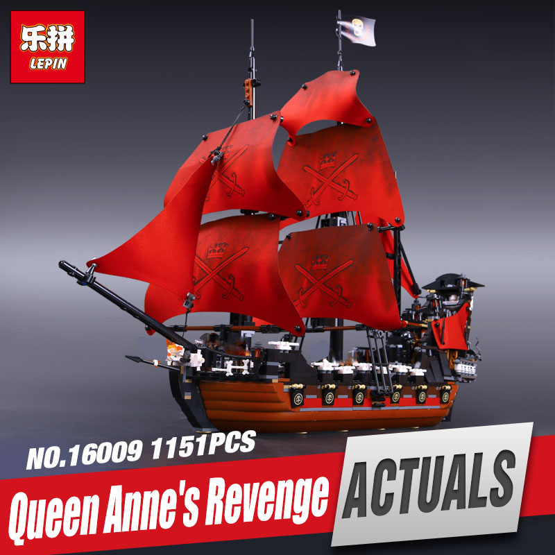 New LEPIN 16009 1151pcs Queen Anne's revenge Pirates of the Caribbean Educational Building Blocks Set Compatible with toys 4195