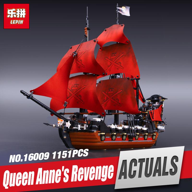 New LEPIN 16009 1151pcs Queen Anne s revenge Pirates of the Caribbean font b Educational b