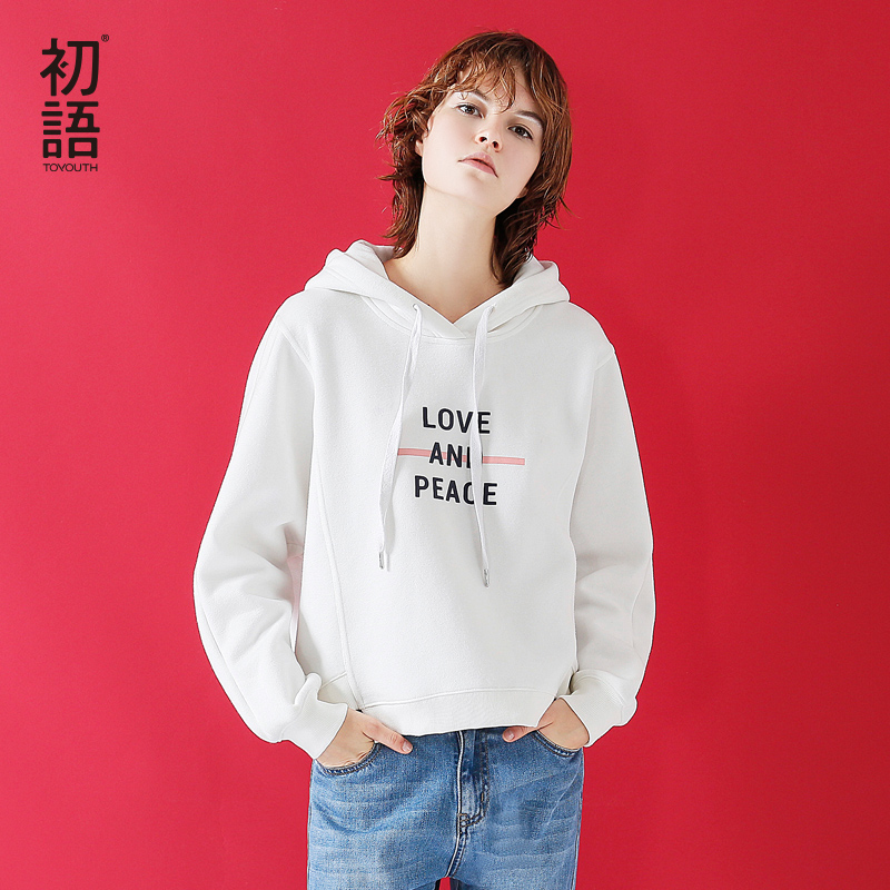 Toyouth Crop Sweatshirt With Hood Women 2019 Autumn Casual Letter Print Lady Loose Pullover Hoodies