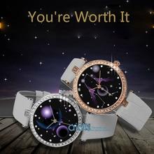 Top Marca de Lujo de Señora Reloj de Cuarzo Mujeres Reloj de Vestir de Cuero de Moda Casual Constelación Reloj Reloj Relogio Feminino