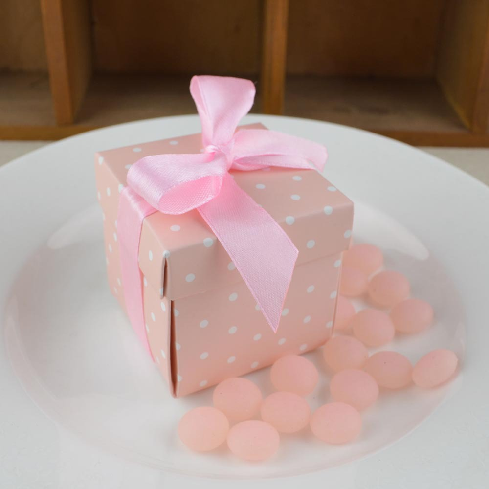 Pink & blue with White Dots candy box, Baby Shower,wedding favors ...