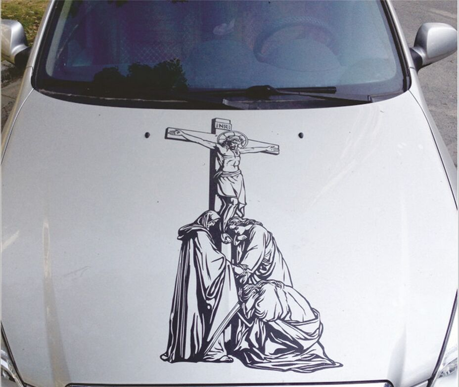 90 45cm Car modified Jesus hood stickers Door stickers cover car garland reflective personalized stickers